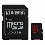 Карта памяти micro SDXC, 64 GB, KINGSTON, UHS-I U3, 90 Мб/сек. (class 10), с адаптером