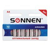 "Батарейки SONNEN, AA (LR6), КОМПЛЕКТ 10шт., ""Everyday use"", АЛКАЛИН , в блистере, 1.5В, 451086"