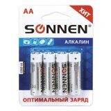 "Батарейки SONNEN, AA (LR6), КОМПЛЕКТ 4шт., ""Everyday use"", АЛКАЛИН, в блистере, 1.5В, 451085"