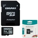 Карта памяти micro SDHC, 8 GB, KINGMAX, 10 Мб/сек. (class 10), с адаптером, KM08GMCSDHC101A