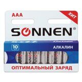 "Батарейки SONNEN, AAA (LR03), КОМПЛЕКТ 10шт., ""Everyday use"", АЛКАЛИН, в блистере, 1.5В, 451089"